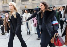 Kate Davidson Hudson and Stefania Allen in a Miu Miu coat and with a Loewe bag