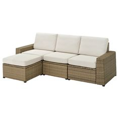 Create an outdoor living room with SOLLERÖN modular sections. A comfortable chaise, maintenance-free plastic rattan and cushions that are water-repellent and fade-resistant make life comfortable. Outdoor Sofa, Outdoor Stools, Outdoor Living, Outdoor Furniture, Outdoor Sectionals, Lounge Furniture, Ikea Lounge, Balcony Furniture, Modular Corner Sofa