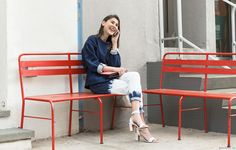 We love a fashion sweatshirt paired with heels! Get inspired by this streetstyle shot from Garance Dore.