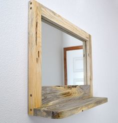 60$. For old med cab. Rustic shelf Mirror Mirrored wooden by DoveMeadowDesigns on Etsy