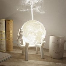 Drop Ship Ultrasonic Moon Air Humidifier Aroma Essential Oil Diffuser USB Mist Maker Humidificador with LED Night Lamp