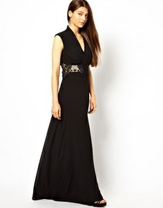 Image 1 ofJarlo Button Through Maxi Dress with Lace Insert $143.45