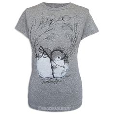 This sweet Loungefly t-shirt features two black birdies, a punky one and her nerdy love on a feathery background with the text 'Opposites Attract', and comes on a super-soft heathered grey classic fit girl's tee.