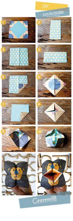Zoutvaatje of Kikkerbekje vouwen Origami And Kirigami, Origami Paper, Diy Paper, Paper Crafting, Paper Art, Easy Origami, Summer Crafts, Fun Crafts, Diy For Kids