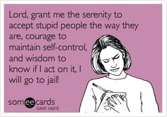 Lord, grant me the serenity to accept stupid people the way they are, courage to maintain self-control, and wisdom to know if I act on it, I will go to jail!