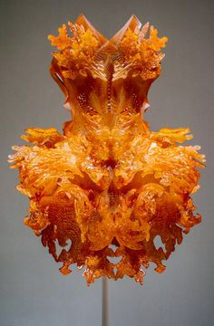 A dress made with a 3-D printer by the Dutch designer Iris van Herpen, known for her sculptural works. Photo: Jake Naughton for The New York Times
