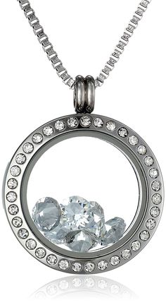 Charmed Lockets Round Pendant with Swarovski Crystal Charms Necklace, 24' ** Click image to review more details.