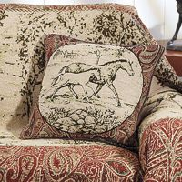 Back in The saddle Toile Print Throw Pillow 17in
