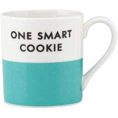 kate spade new york Wit and Wisdom Mug, ($15) ❤ liked on Polyvore featuring home, kitchen & dining, drinkware, extras, mug, one smart cookie ve kate spade