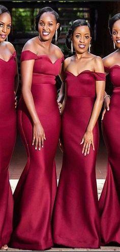 Off Shoulder Dark Red Simple Cheap Bridesmaid Dresses Online, WG779 #bridesmaids #bridesmaiddress #bridesmaiddresses #dressesformaidofhonor #weddingparty #2020bridesmaiddresses