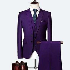 3 Piece Wedding Suits For Men Slim Fit Men's Suits Formal Burgundy Green Purple Yellow Red White Man Suit - moonaro Groom Tuxedo, Tuxedo For Men, Formal Suits, Men Formal, Formal Prom, Prom Suit Green, Purple Suits, Purple Yellow, Black Suits