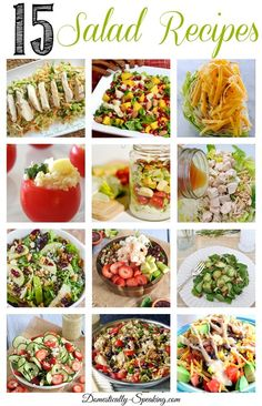 15 Salad Recipes - lots of salad varieties and options that you'll love.  Healthy, Chicken, Pasta and more...