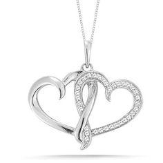 "10k White Gold Diamond Double Heart Pendant Necklace (1/8 Cttw I-J Color, I2-I3 Clarity), 18"", diamond heart pendant necklace"