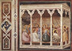 Picture and description of a work by Giotto: Pentecost (Padua). Fresco x 200 cm), dated Renaissance Kunst, Art Ancien, Life Of Christ, Religious Paintings, Ouvrages D'art, Book Of Hours, Italian Painters, Art Database, Painting Art