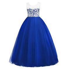 IWEMEK Little Big Girls Floor Length Lace Tulle Bridesmaid Dress Flower  Wedding Pageant Party Prom Long Maxi Evening Dance Gown Best Halloween  Costumes ... 956c65fe30d6