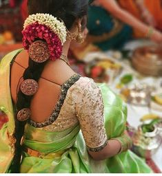 Looking for bridal blouse designs? Here are 16 amazing blouse models that are sure to steal your heart. Bridal Bun, Bridal Hairdo, Bridal Makeup, Bridal Photoshoot, Wedding Makeup, Blouse Back Neck Designs, Modern Blouse Designs, Indian Wedding Hairstyles, Bride Hairstyles