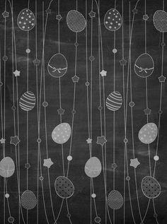Easter Chalkboard Eggs White Backdrop - 3531