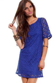 Window Pane Lace Dress in Blue $37 at www.tobi.com