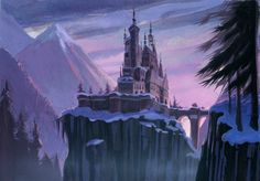 Beauty and the Beast castle-where I would want to spend my winter, with the big fireplace and even bigger library.