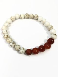 Mens Stretch Bracelet Mens Beaded Bracelet Howlite and Orange Fire Agate Bracelet Gifts For Him Mens Jewelry Mens Fashion Mens Accessories by JulemiJewelry on Etsy https://www.etsy.com/listing/215722812/mens-stretch-bracelet-mens-beaded