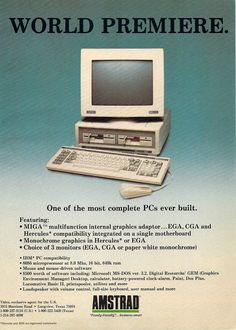 Amstrad PC Advertisement from the September 1987 issue of Compute! Childhood Images, Apple Ii, 8 Bits, Computer Basics, Old Technology, Old Computers, Gaming Computer, Retro, Vintage Ads