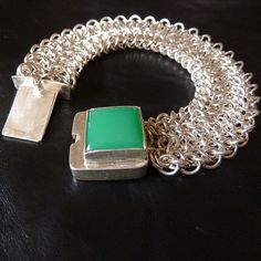 Chainmaille sterling silver chrysoprase clasp by khmetalwork,