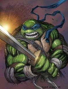 Teenage Mutant Ninja Turtles - Leonardo by Tyler Kirkham * Ninja Turtles Shredder, Ninja Turtles Art, Teenage Mutant Ninja Turtles, Arte Dc Comics, Tmnt Comics, Ninga Turtles, Dope Cartoon Art, Leonardo Tmnt, Hip Hop Art