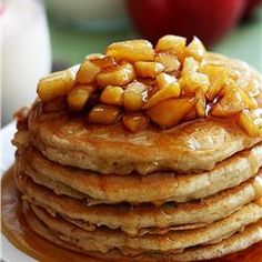 Change up the same old pancake and make these Apple Cinnamon Pancakes! Fluffy cinnamon pancakes make the most perfect cozy breakfast. Fall Breakfast, Breakfast Dessert, Breakfast Dishes, Breakfast Recipes, Apple Recipes, Sweet Recipes, Quick Recipes, Apple Pancake Recipe, Pancake Toppings