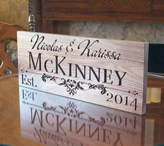 Carved Wood Sign: Wedding Gift Marriage Gift Custom Wood Signs Established Name Anniversary Personalized Wood Signs Walnut IG
