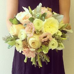 Girly bouquet with garden roses and dusty miller