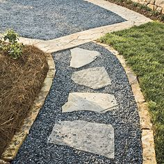 Unique walkway using stone, gravel, and loose pavers. Via SouthernLiving.com