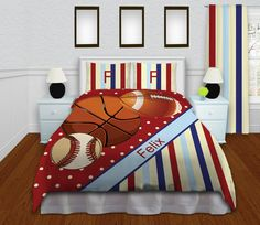 Basketball Sports Bedding, Red Baseball Teen Duvet Cover, Personalized Striped Pillow Cases, Football, Boys Queen Bedding, Twin, King #152 by EloquentInnovations on Etsy