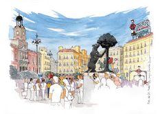 Ilustrador Madrid acuarela vectorial mapas