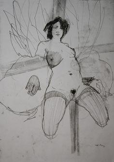 """Saatchi Online Artist: Michael Lentz; Monotype, 2012, Printmaking """"NUDE No 2980"""""""