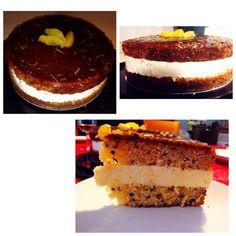 Naked cake: orange cake with cacao nibs filled with mascarpone cream