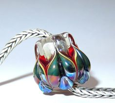 Luccicare Lampwork Bead -  Lotus - Focal -  Lined with Sterling Silver by Luccicare on Etsy