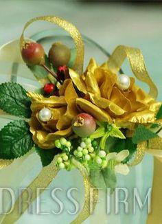 Exalted Golden Silk Cloth Flower Wedding Wrist Corsage for Bride
