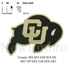 Custom embroidery, COLORADO UNIVERSITY LOGO ,Personalized Embroidery, embroidery designs embroidery pattern 4 sizes Instant download by NewEmbro, $5.00 USD