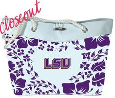 LSU Hibiscus Tote  Purchasing available through our Facebook page: https://www.facebook.com/handlewithflair1