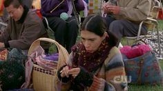 Gilmore Girls - Gypsy (Rose Abdoo) is taking part in Stars Hollow's knit-a-thon. She seems very focused.