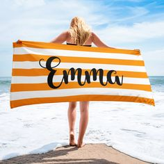 Personalized Name Blankets Rainbow Family, White Names, Striped Towels, Font Names, Personalised Blankets, Burnt Orange, Outdoor Blanket, Mini