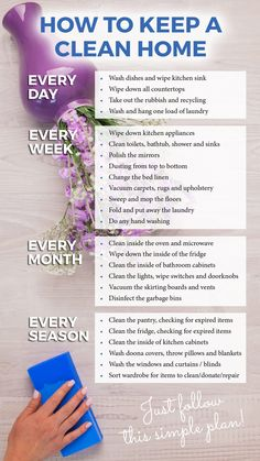 How to keep a clean home – handy planner and list. Cleaning tips, hacks, and ide… How to keep a clean home – handy planner and list. Cleaning tips, hacks, and ideas. House Cleaning Checklist, Diy Home Cleaning, Household Cleaning Tips, Toilet Cleaning, Cleaning Kit, Weekly Cleaning, Spring Cleaning Tips, Apartment Cleaning Schedule, Cleaning Routines