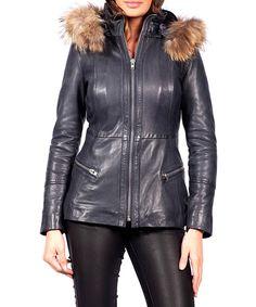 Tropezienne marine leather jacket by JOHN & YOKO on secretsales.com
