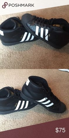 07fc6508c45236 Shop Women s adidas Black White size 11 Sneakers at a discounted price at  Poshmark. Description  Black and white shell tops good condition.