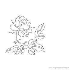 Printable Rose Flower Stencil