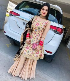 Photo shared by ❤Shokeen Mutiyara❤ on February 2020 tagging Image may contain: 1 person, standing and car Party Wear Indian Dresses, Designer Party Wear Dresses, Indian Bridal Outfits, Indian Fashion Dresses, Wedding Dresses, Punjabi Suits Designer Boutique, Indian Designer Suits, Stylish Dress Designs, Stylish Dresses