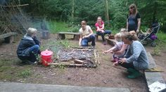Parents having fun at forest school