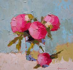 """Peony Party by Carol Maguire Oil ~ 12"""" x 12"""""""