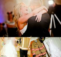 Firefighter wedding. Turnout gear and wedding dress pic!
