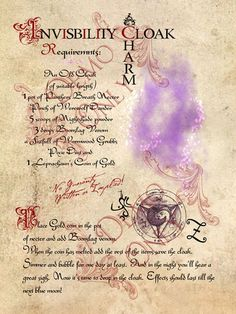 Magick Spells: Invisibility Cloak Charm #Spell.